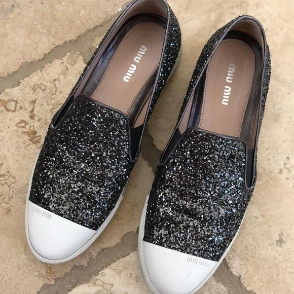 7068610a2952 Miu Miu Shoes | Glitter No Lace Slip On Sneakers | Poshmark